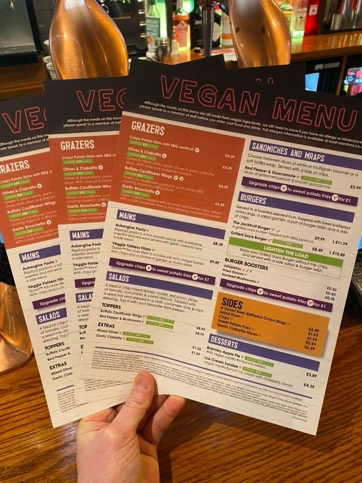 vegan menu leicester